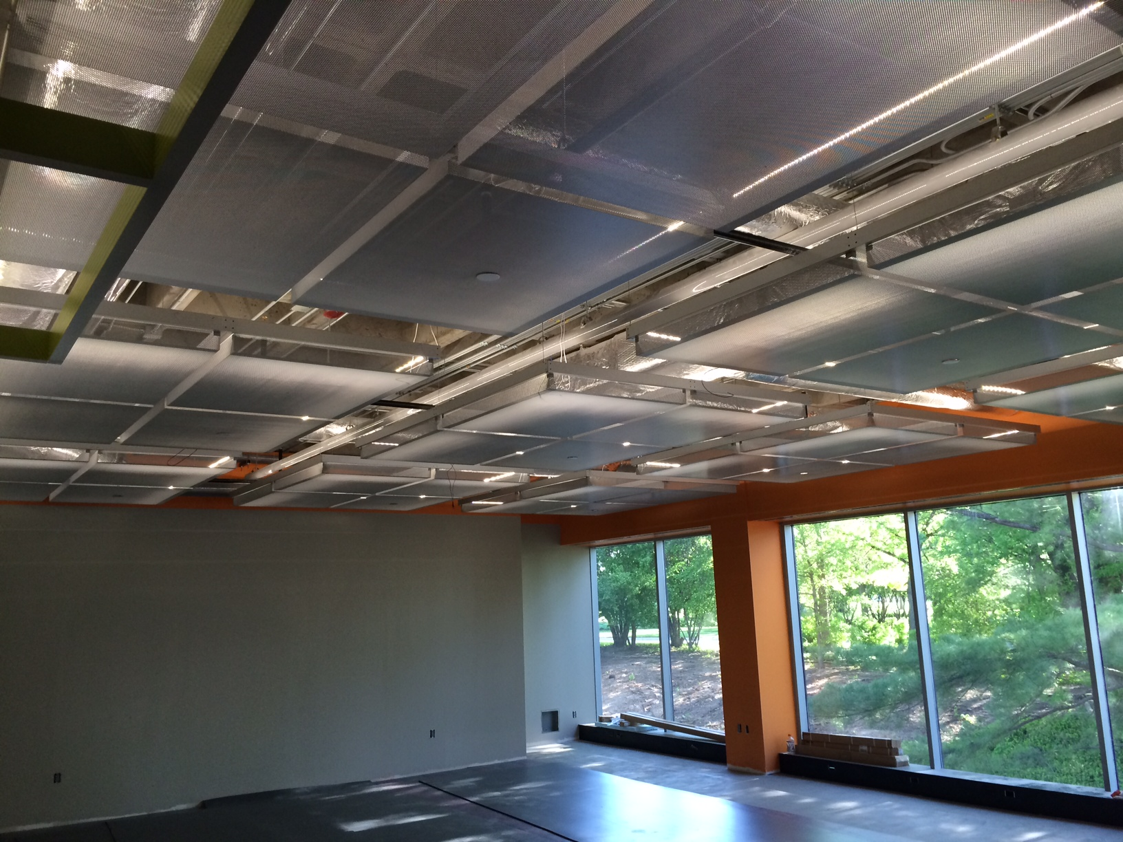 Perforated Cieling Panels and Grid System- ACT Wellness Center, Iowa City IA