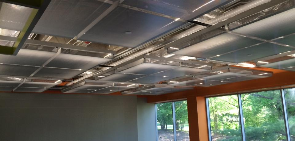 Perforated Ceiling Panels and Grid System- ACT Wellness Center, Iowa City IA